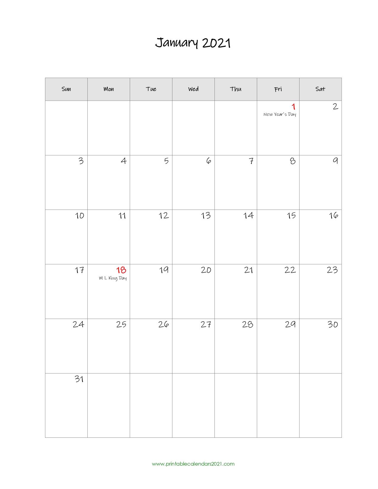 65 Printable Calendar January 2021 Holidays Portrait 1