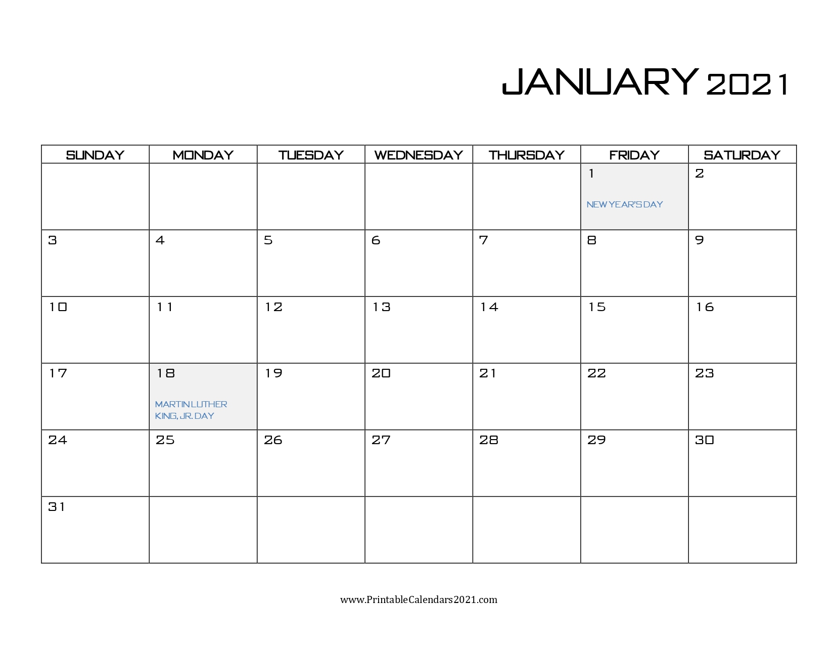 65 Printable Calendar January 2021 Holidays Portrait 2