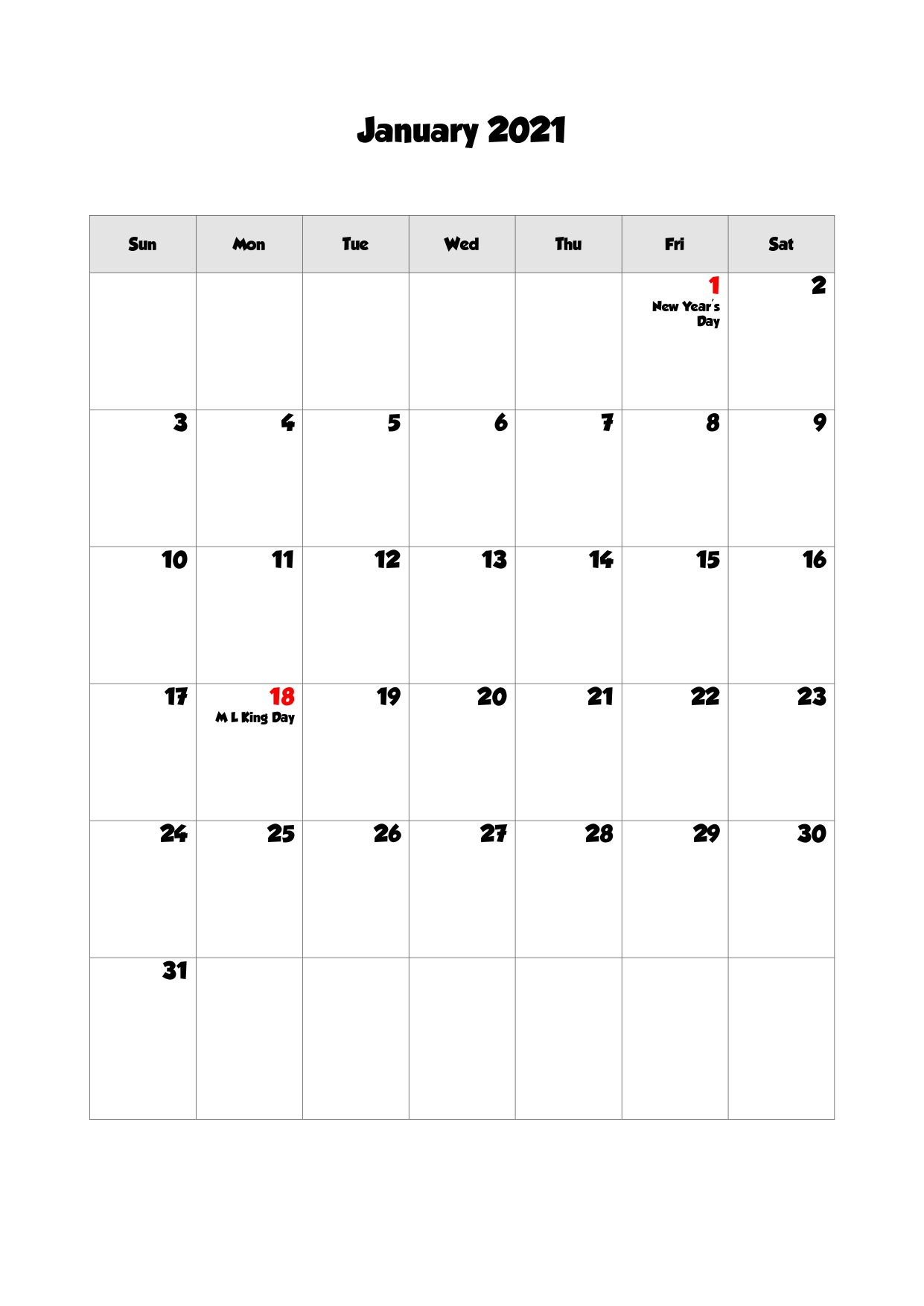 65 Printable Calendar January 2021 Holidays Portrait 4