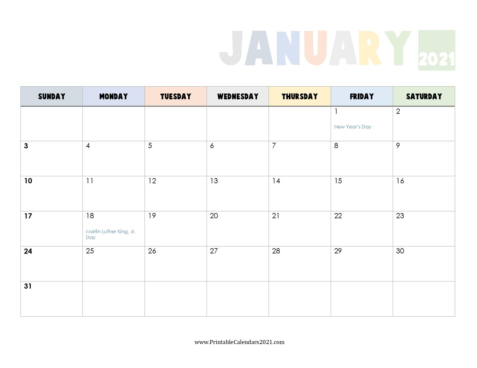 65 Printable Calendar January 2021 Holidays Portrait