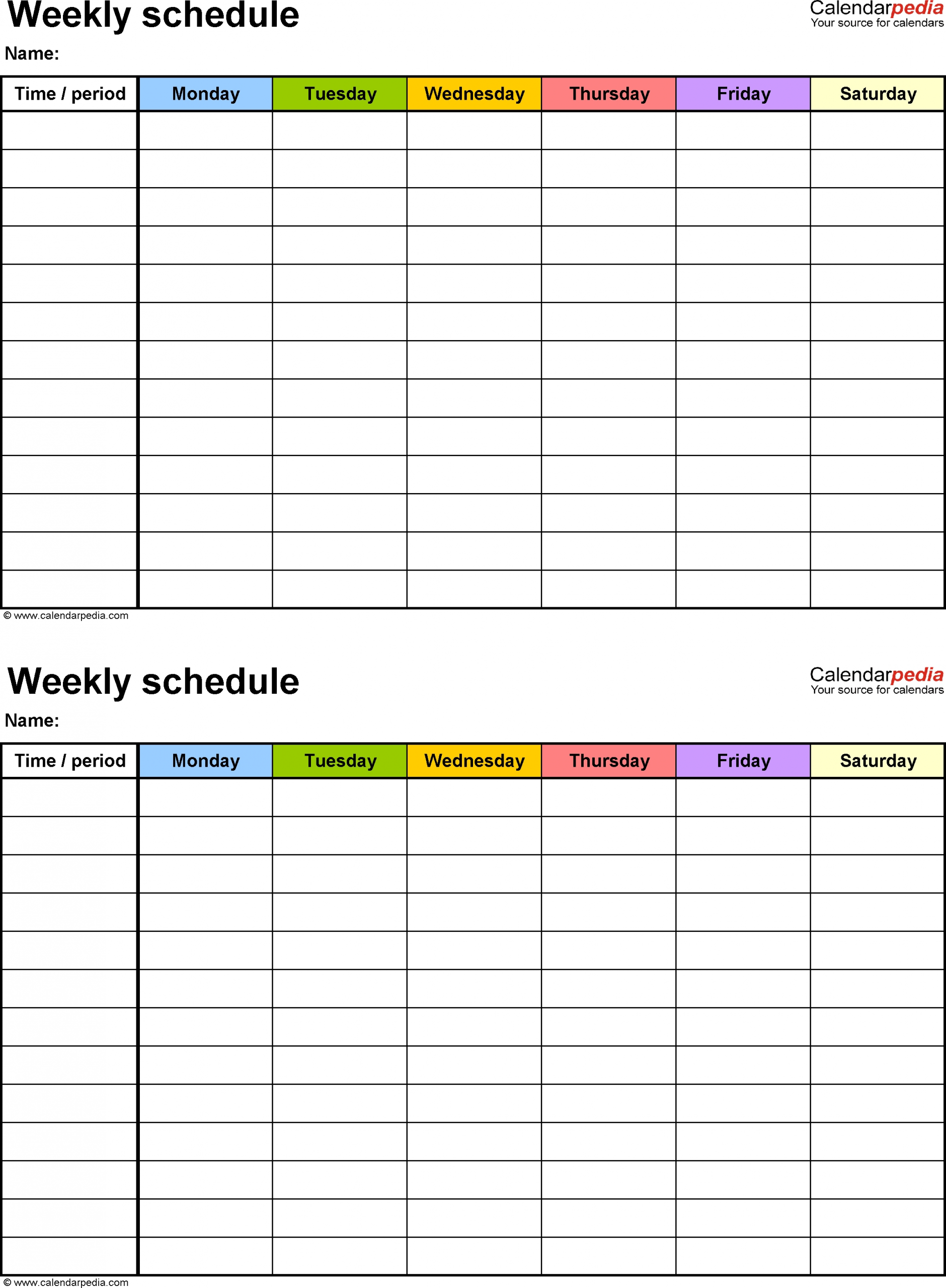 7 Day Calendar Template Excel Free Calendar Template Example