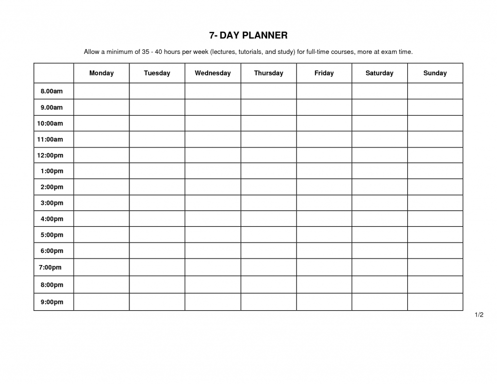 7 Day Weekly Planner Template Printable Template