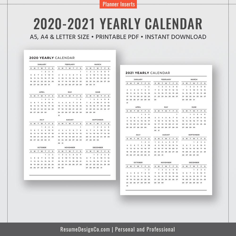 8 5 X 11 2020 Yearly Calendar Printable Calendar 1