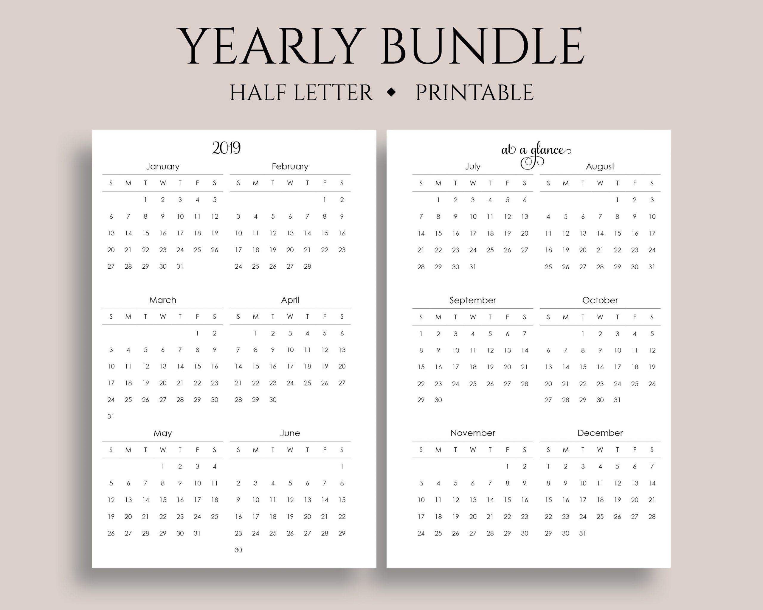 8 5 X 11 2020 Yearly Calendar Printable Calendar