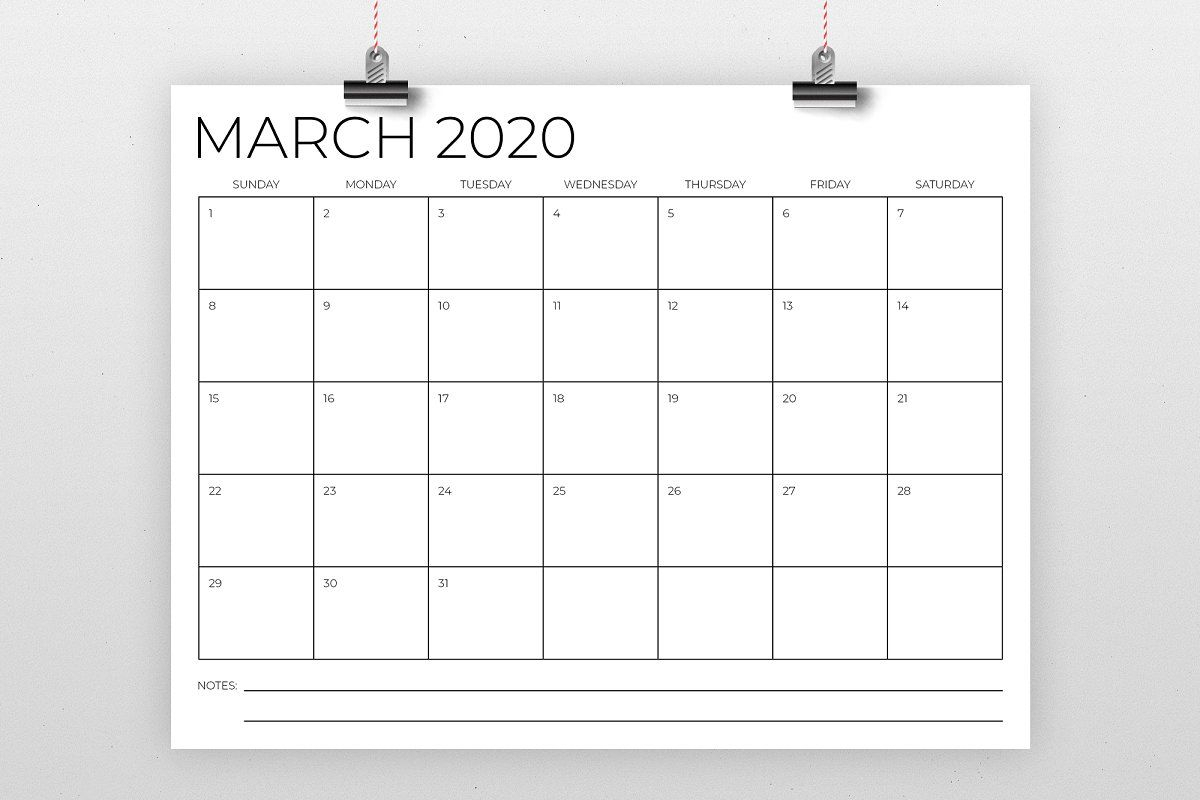 8 5 X 11 Inch Minimal 2020 Calendar Calendar Template 1