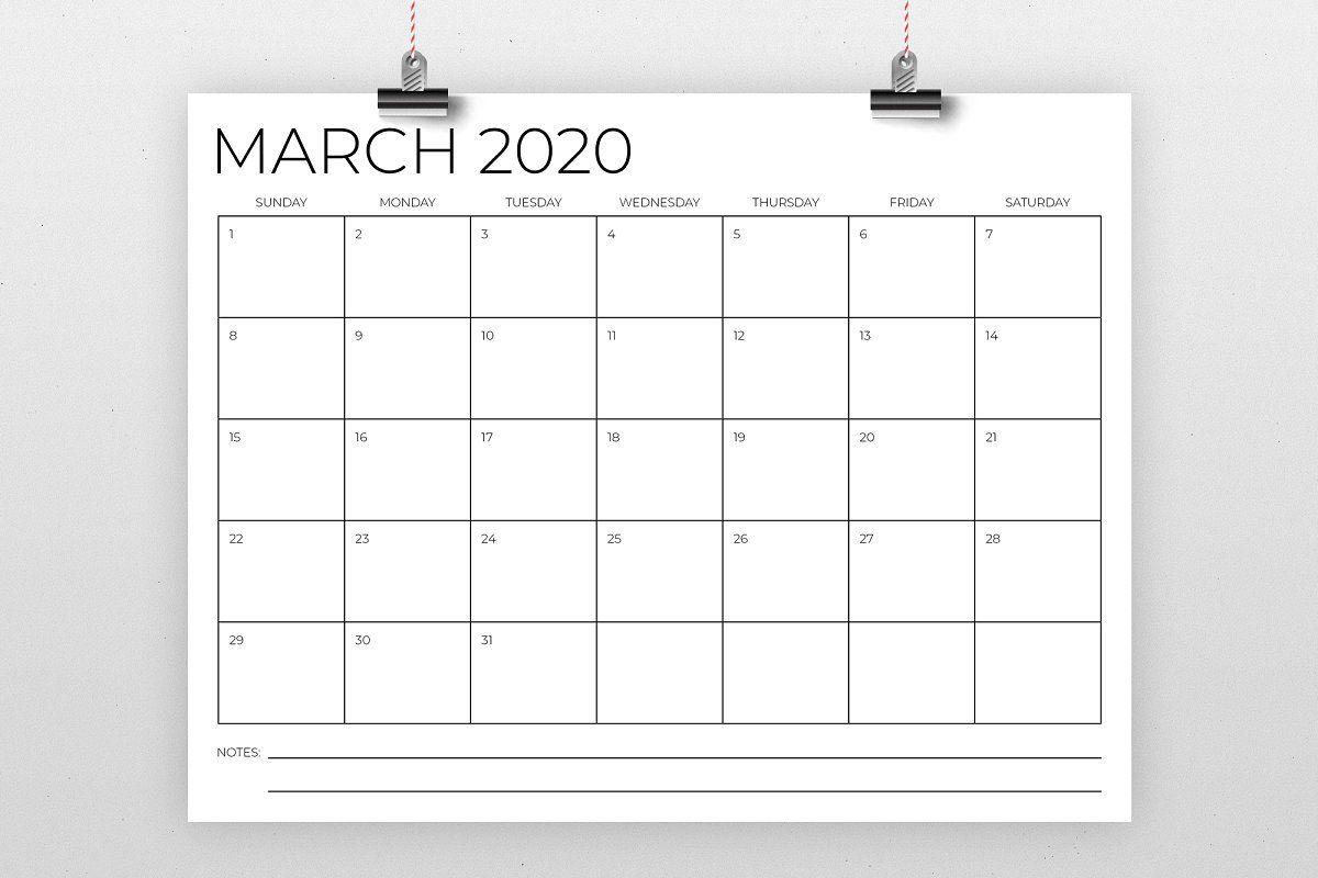 8 5 X 11 Inch Minimal 2020 Calendar Calendar Template