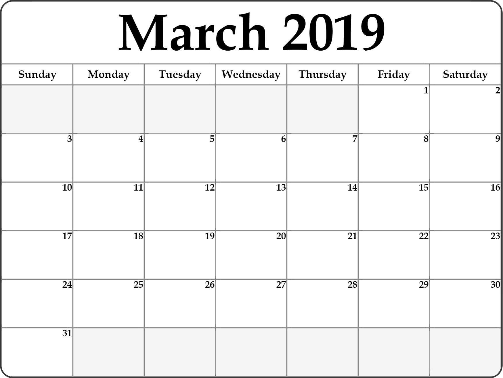 A Blank Page Of 31 Days Of A Calendar Example Calendar