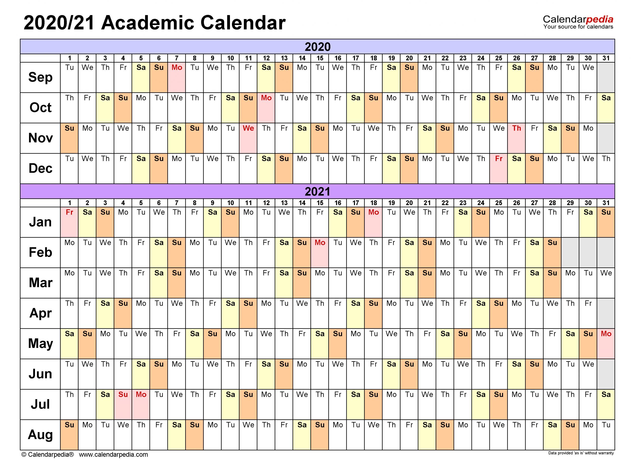 Academic Calendars 2020 2021 Free Printable Excel Templates