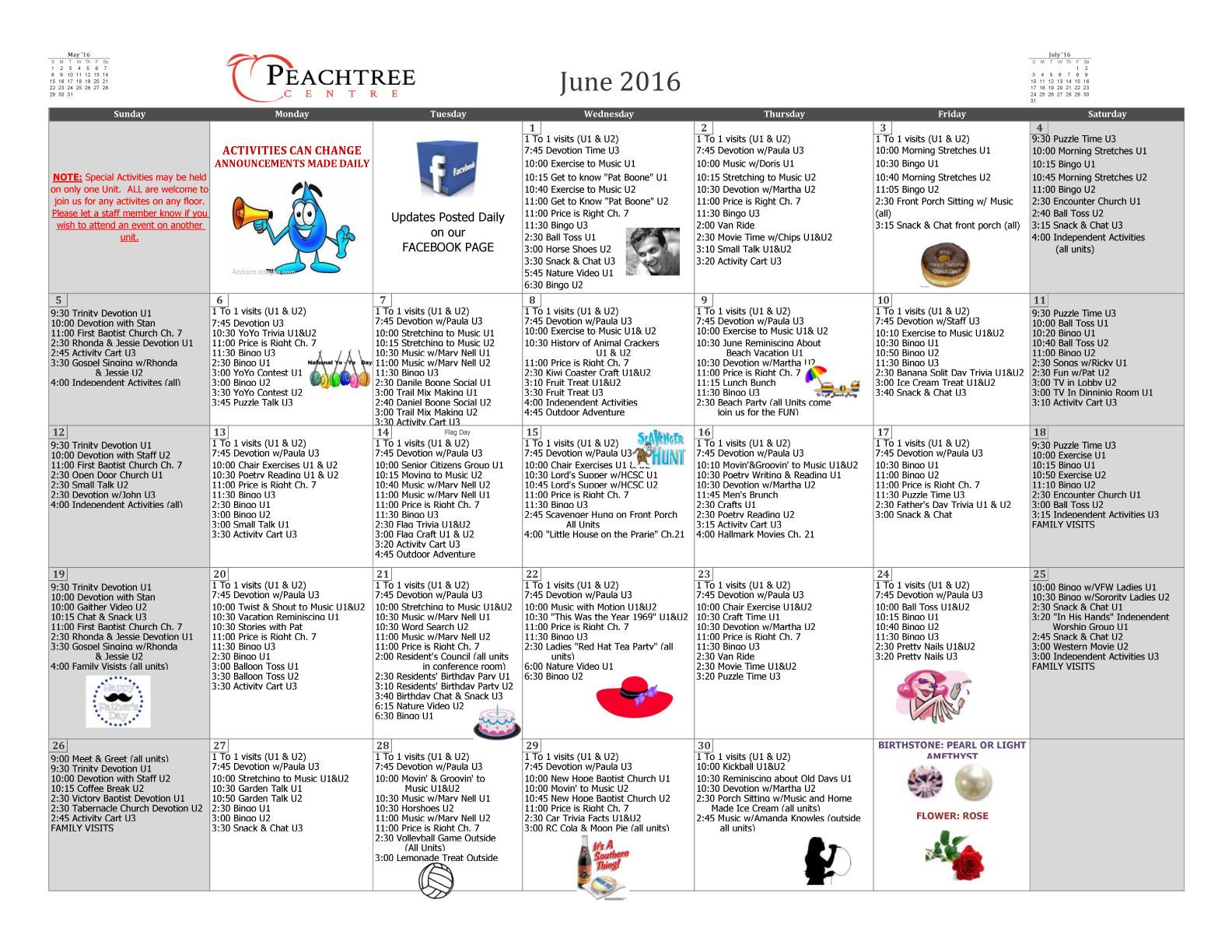 Activity Calendar June 2016 Peachtree Centre