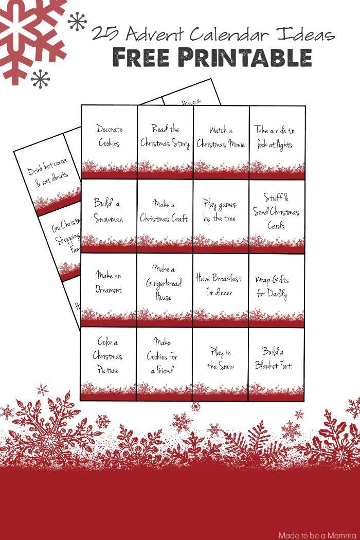 Advent Calendar Printables Advent Calendars For Kids