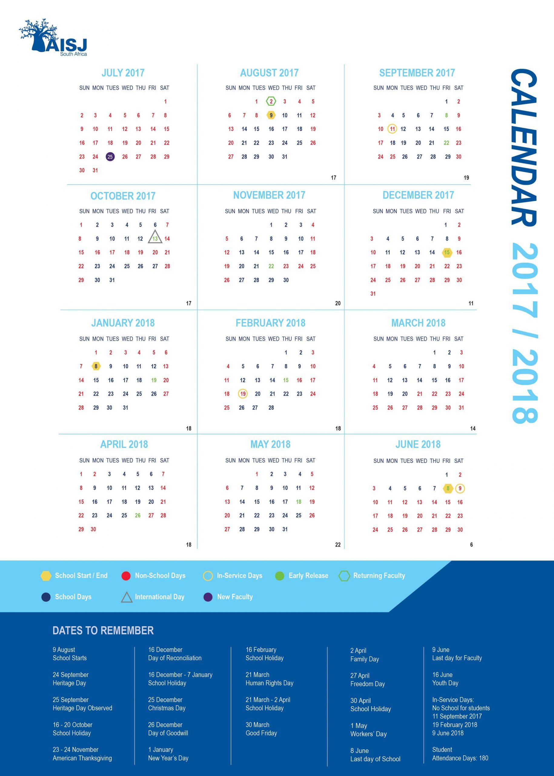 American International School Of Johannesburg Public Calendar