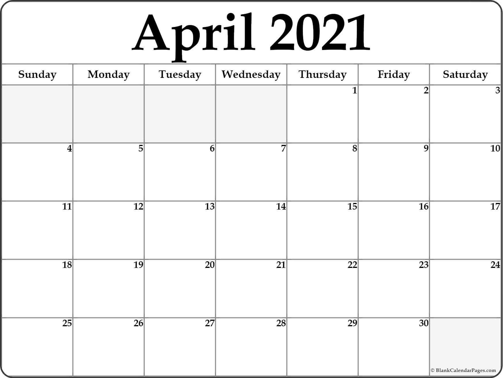 April 2021 Calendar Free Printable Monthly Calendars 1