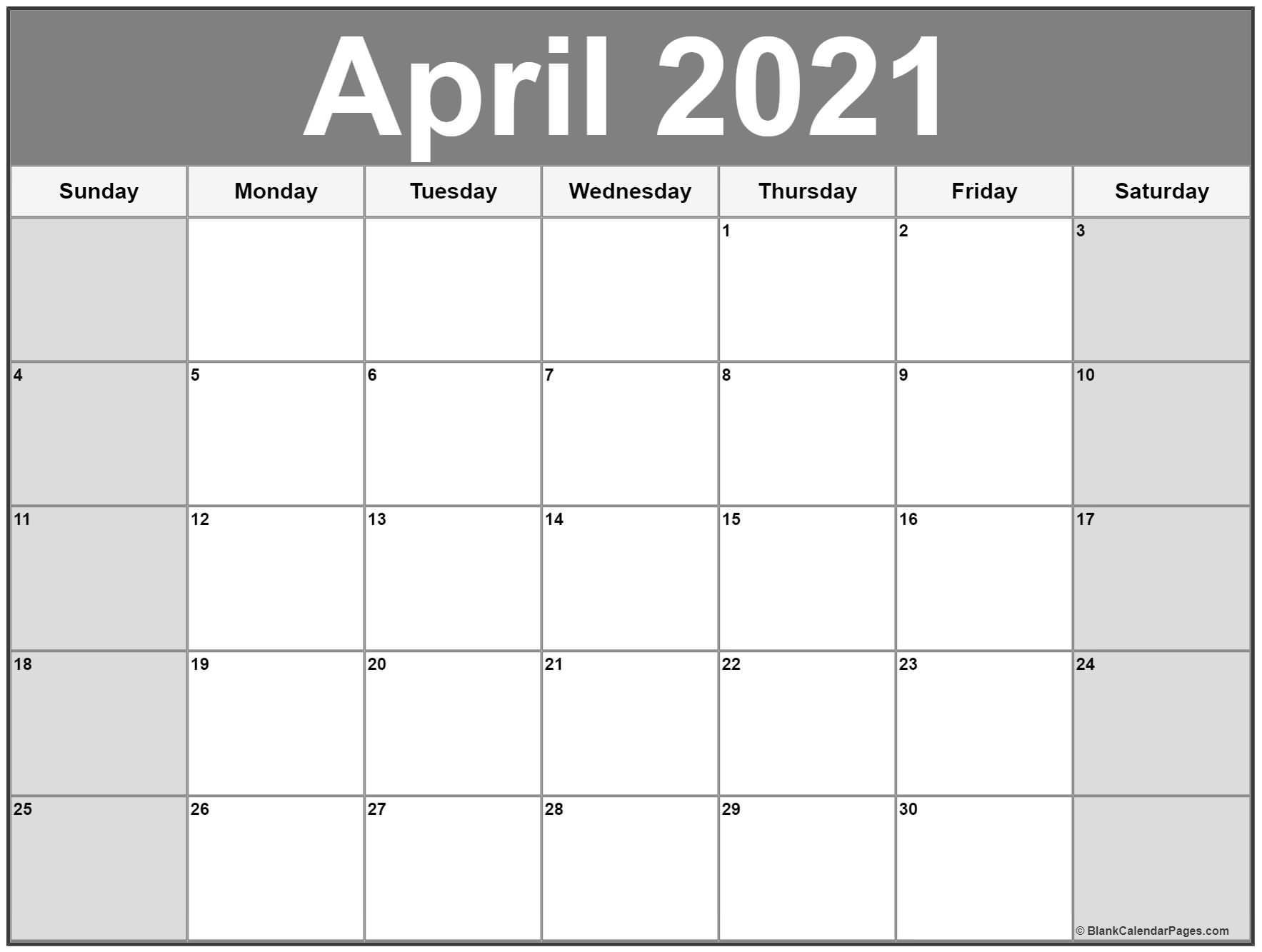 April 2021 Calendar Free Printable Monthly Calendars 4