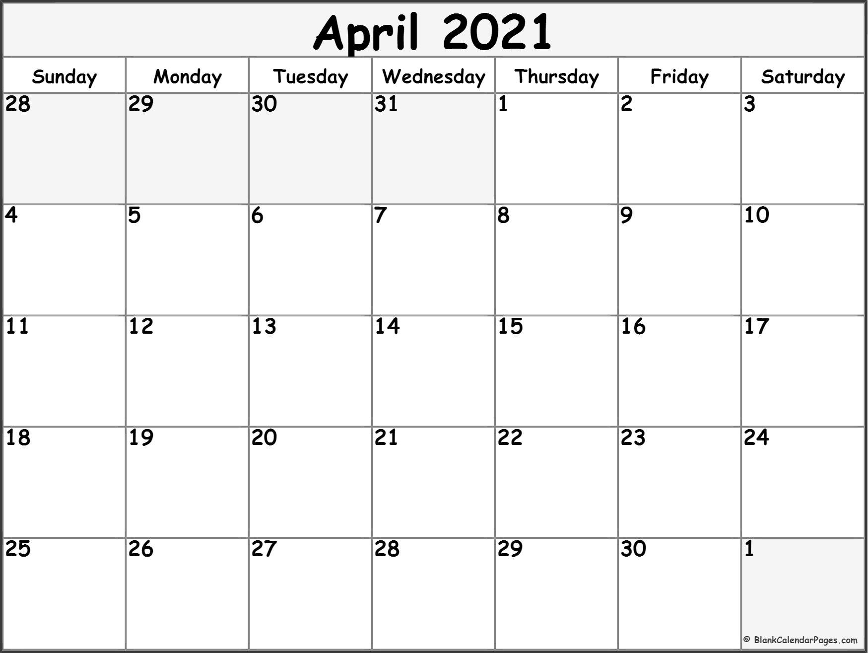 April 2021 Calendar Free Printable Monthly Calendars