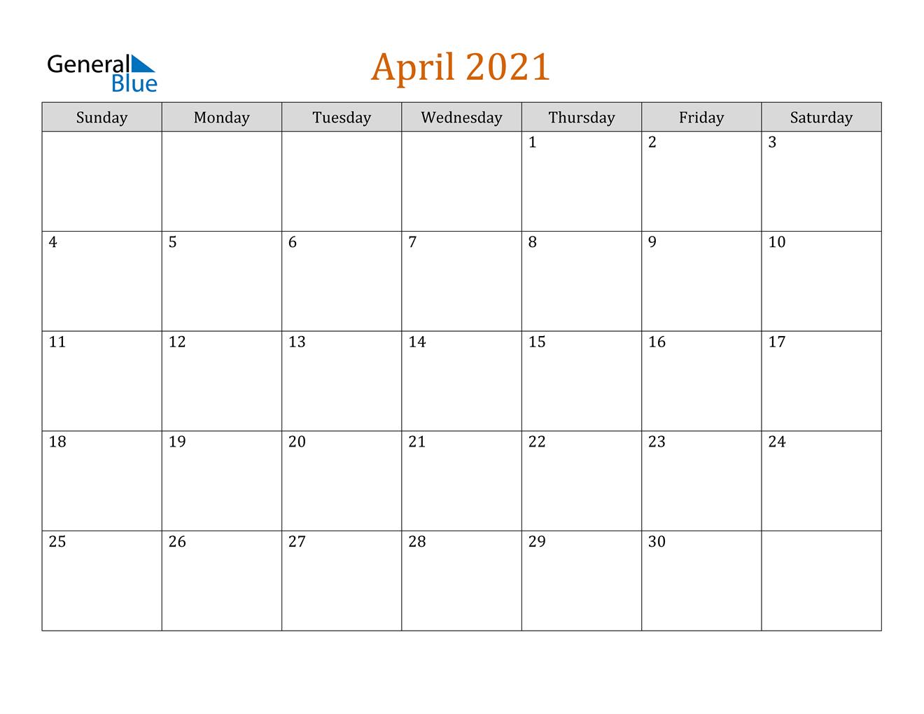 April 2021 Calendar Pdf Word Excel
