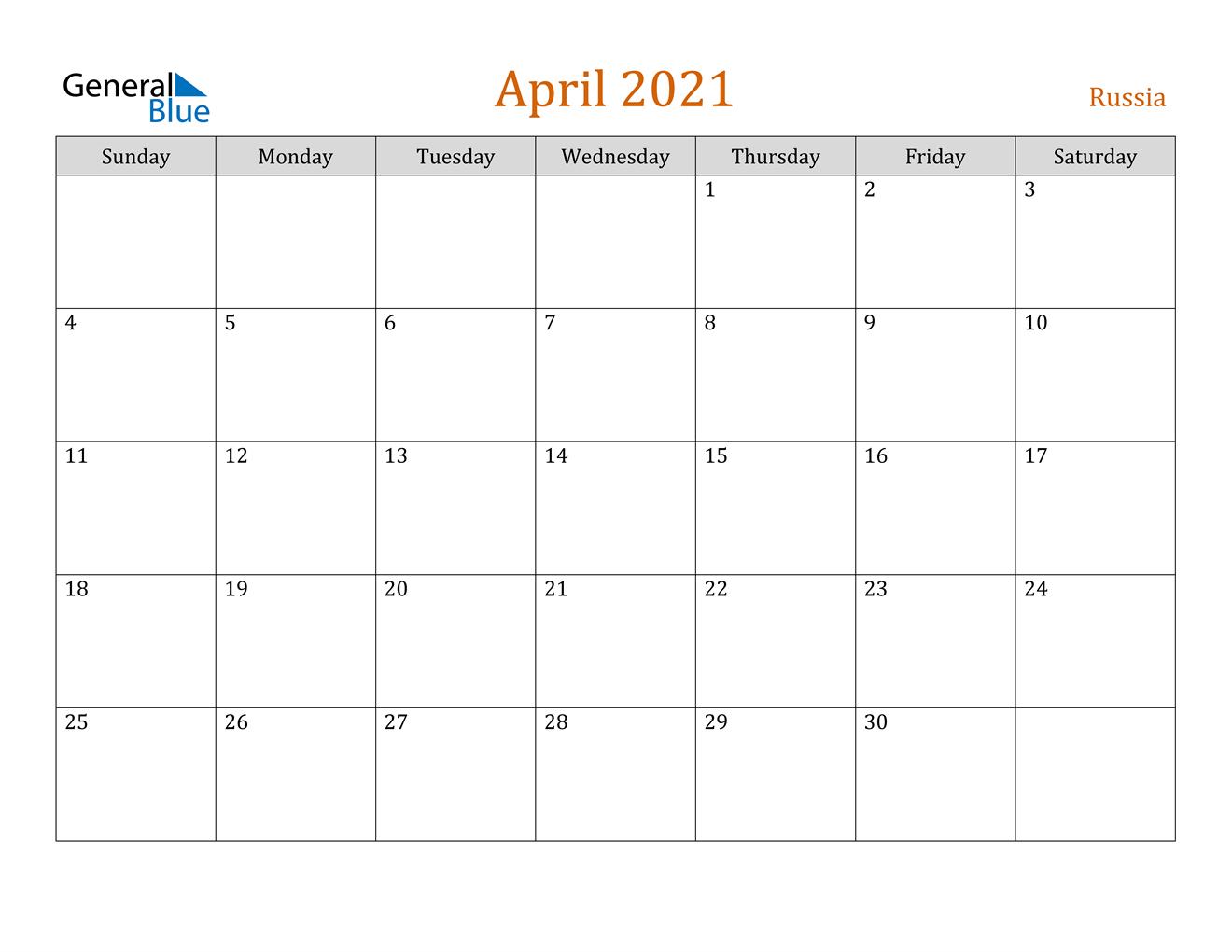 April 2021 Calendar Russia