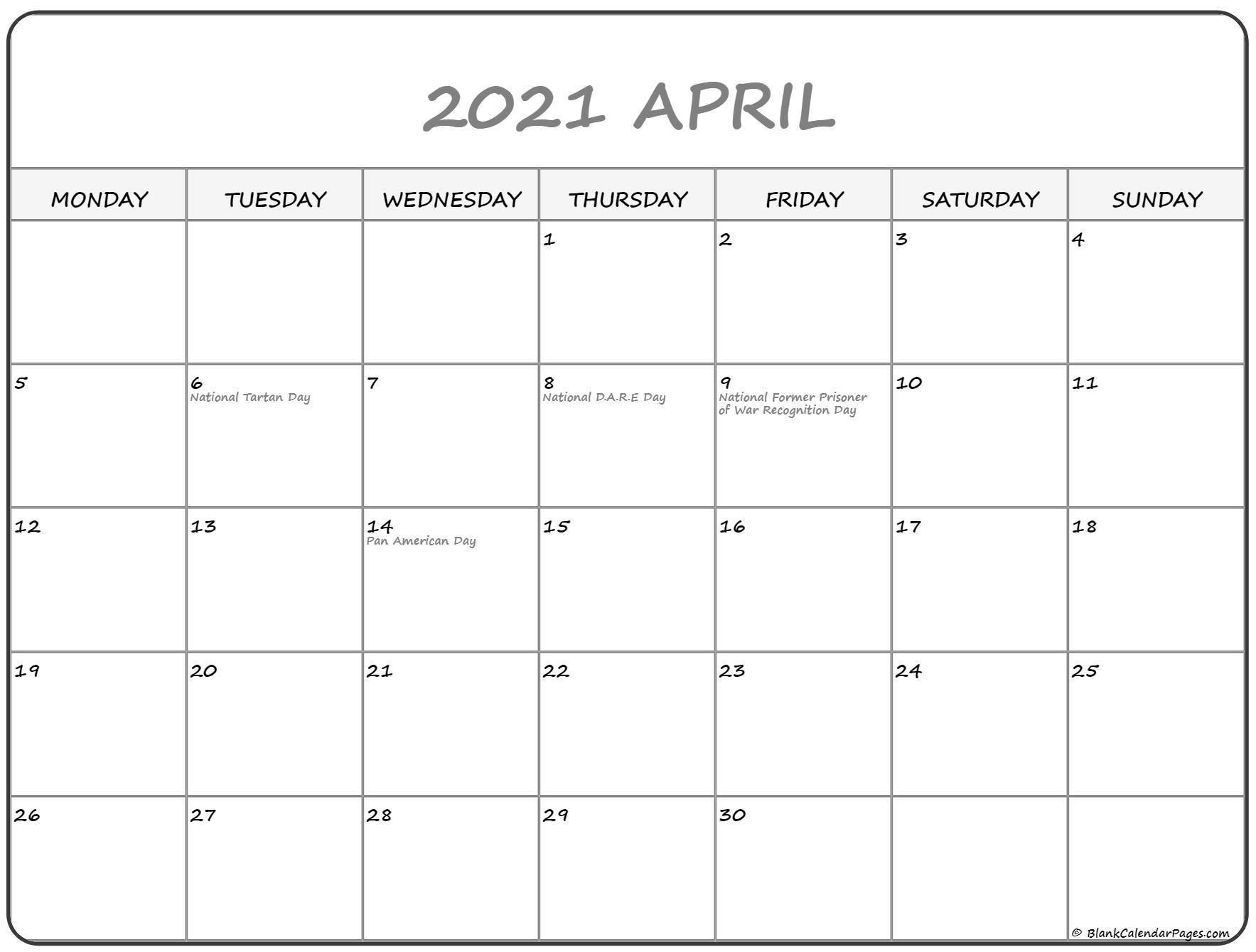 April 2021 Monday Calendar Monday To Sunday
