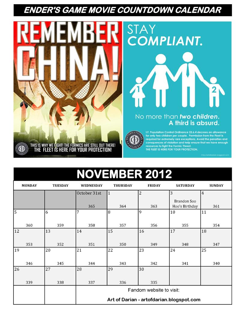 art of darian enders game movie countdown calendar free