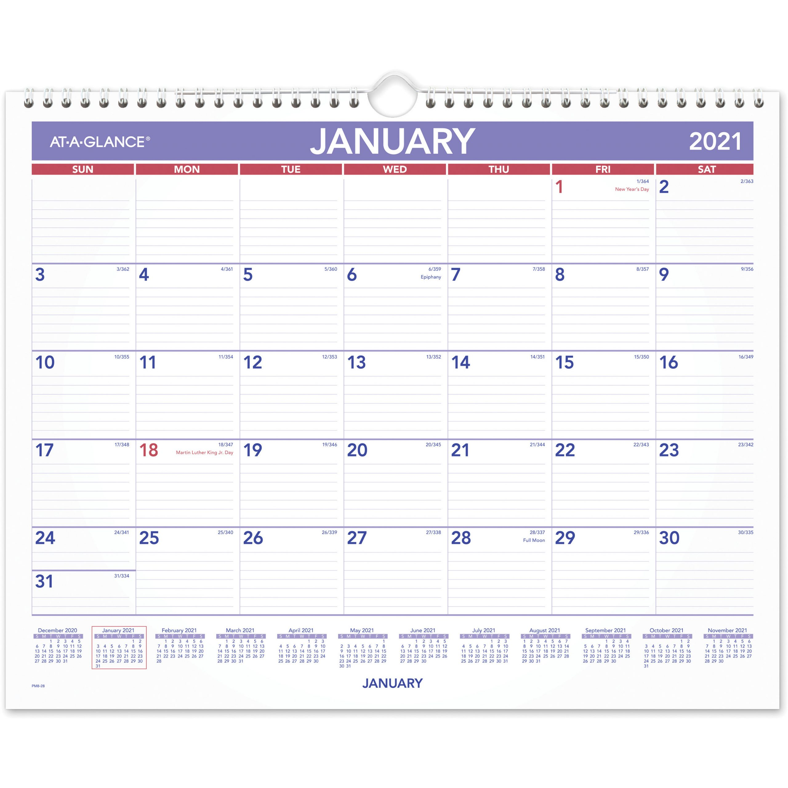 At A Glance Monthly Wall Calendar Julian Dates Monthly