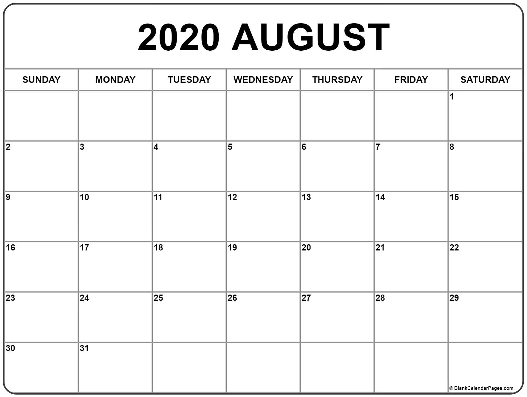 August 2020 Calendar Free Printable Monthly Calendars