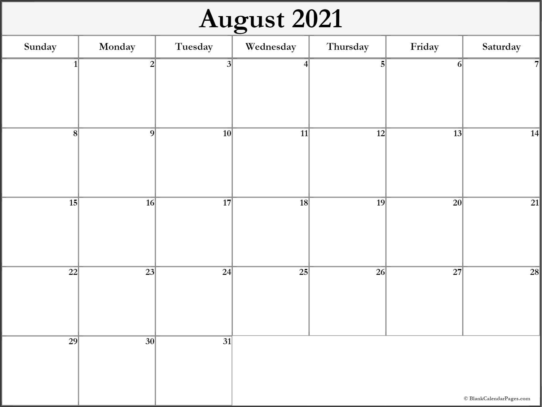 August 2021 Blank Calendar Templates 1