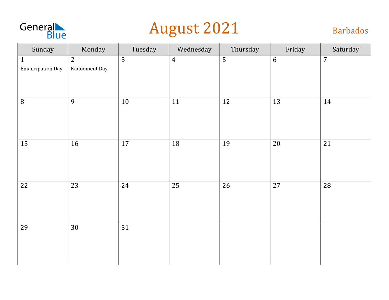August 2021 Calendar Barbados