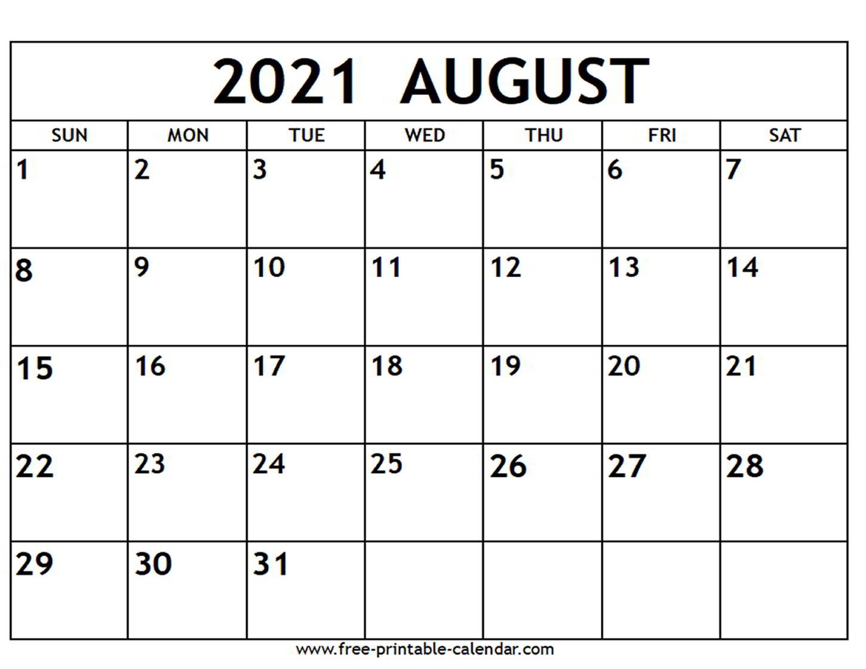 August 2021 Calendar Free Printable Calendar