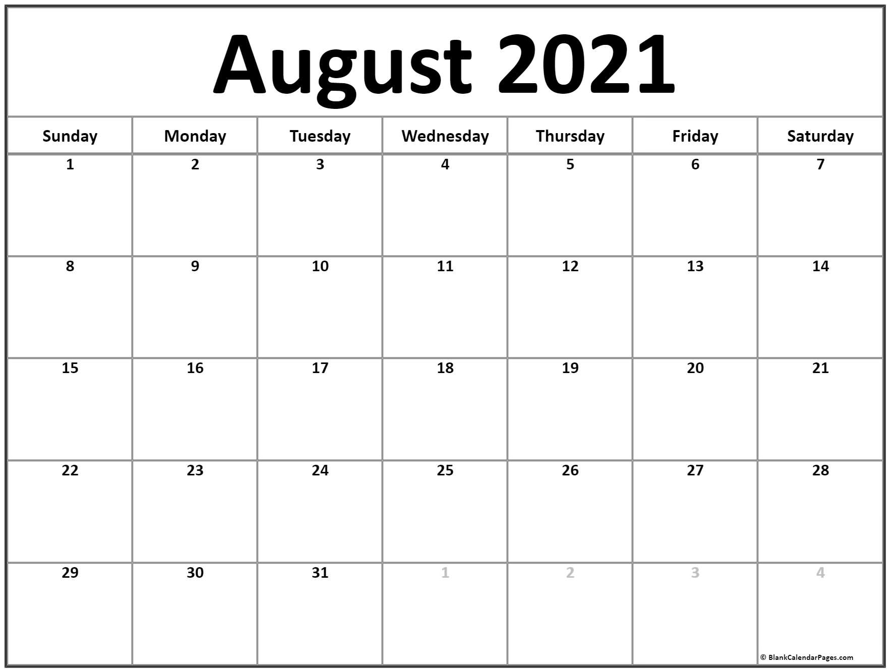 August 2021 Calendar Free Printable Monthly Calendars 2