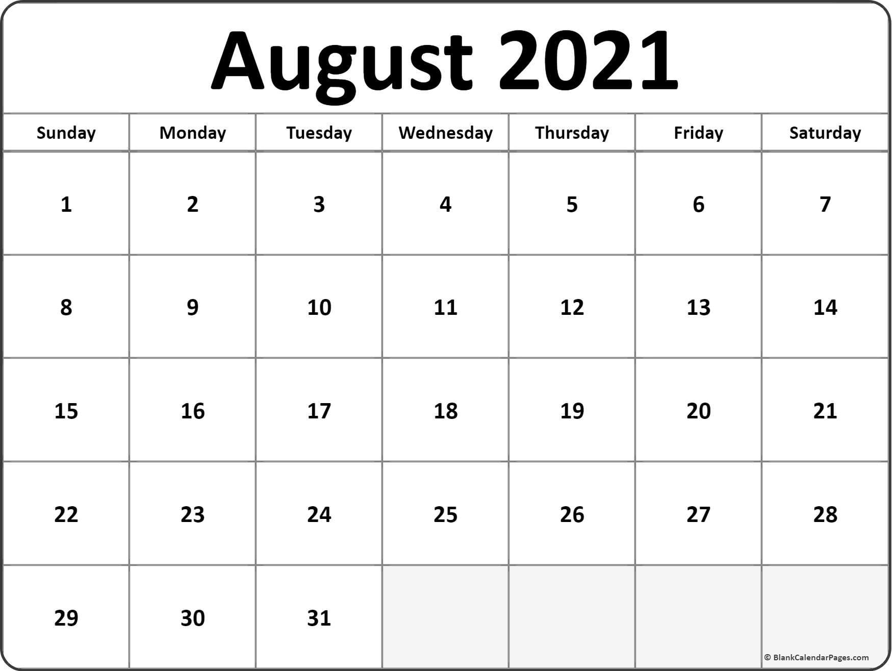 August 2021 Calendar Free Printable Monthly Calendars 3