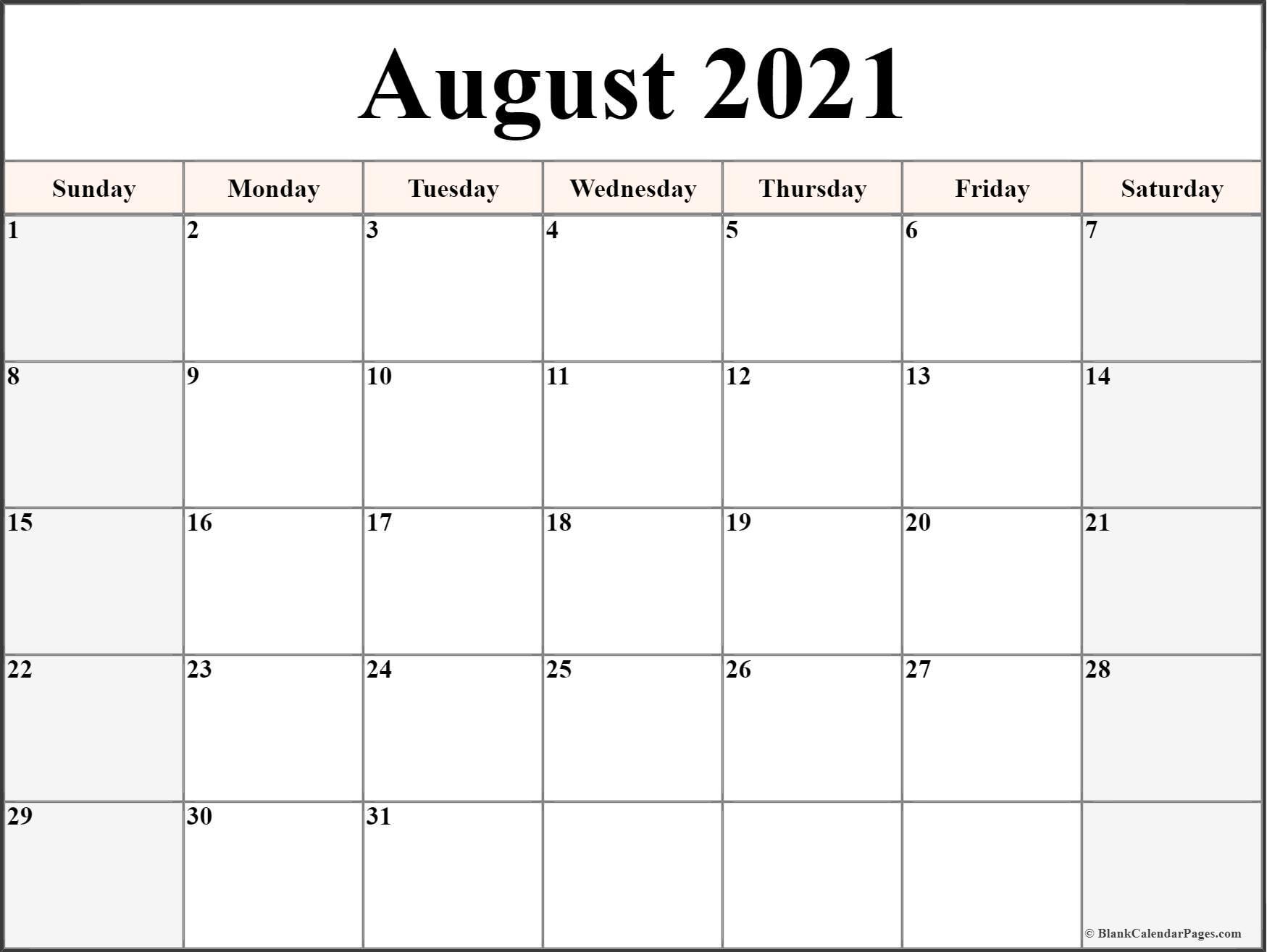 August 2021 Calendar Free Printable Monthly Calendars 4