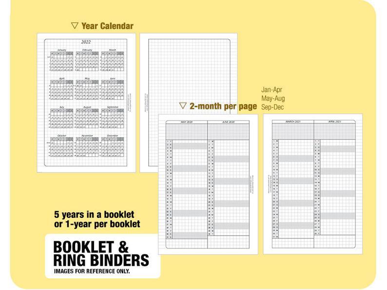 B6 5 Year Calendar Book 2020 2021 2022 2023 2024 Inserts