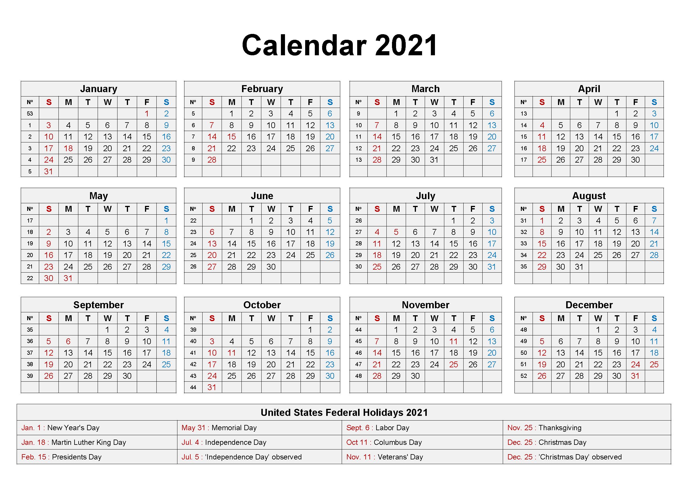 Blank 2021 Calendar Printable Calendar 2021