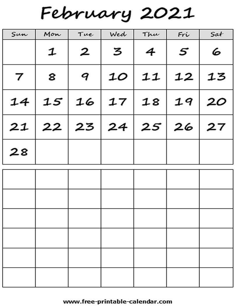 Blank 2021 February Calendar Free Printable Calendar