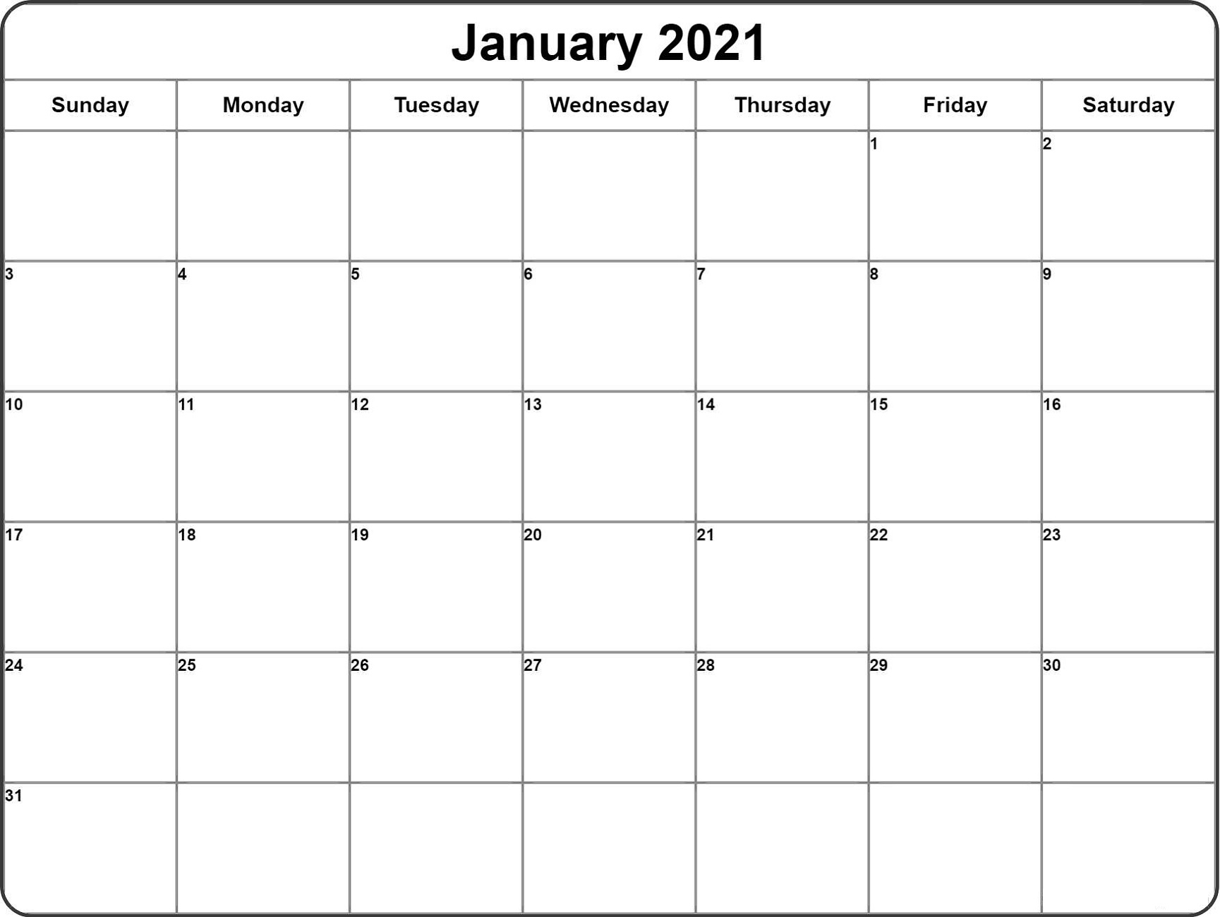 Blank 2021 Weekly Calendar To Organize Your Activities