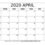 Blank April 2020 Monthly Calendar Planner Templates