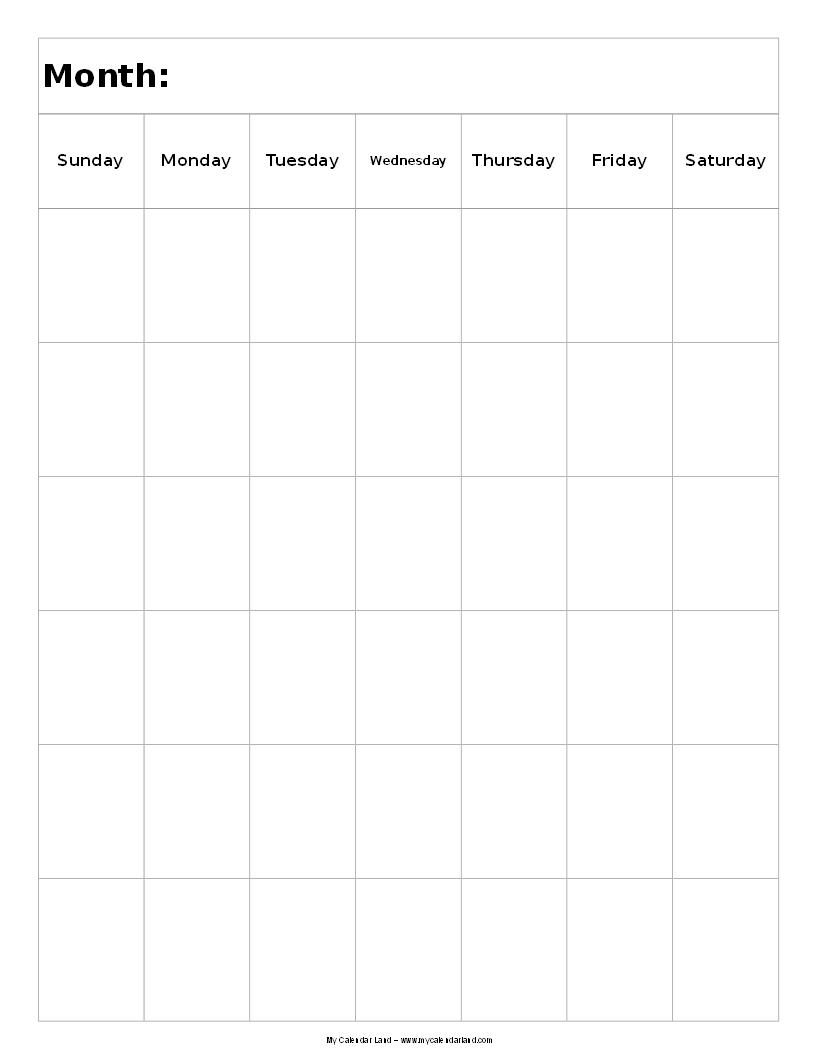 Blank Calendar My Calendar Land 1