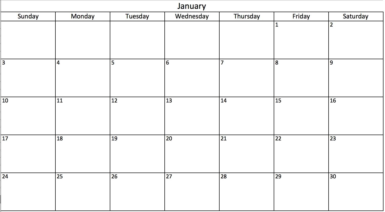 Blank Calendar You Can Type In Working Calendar