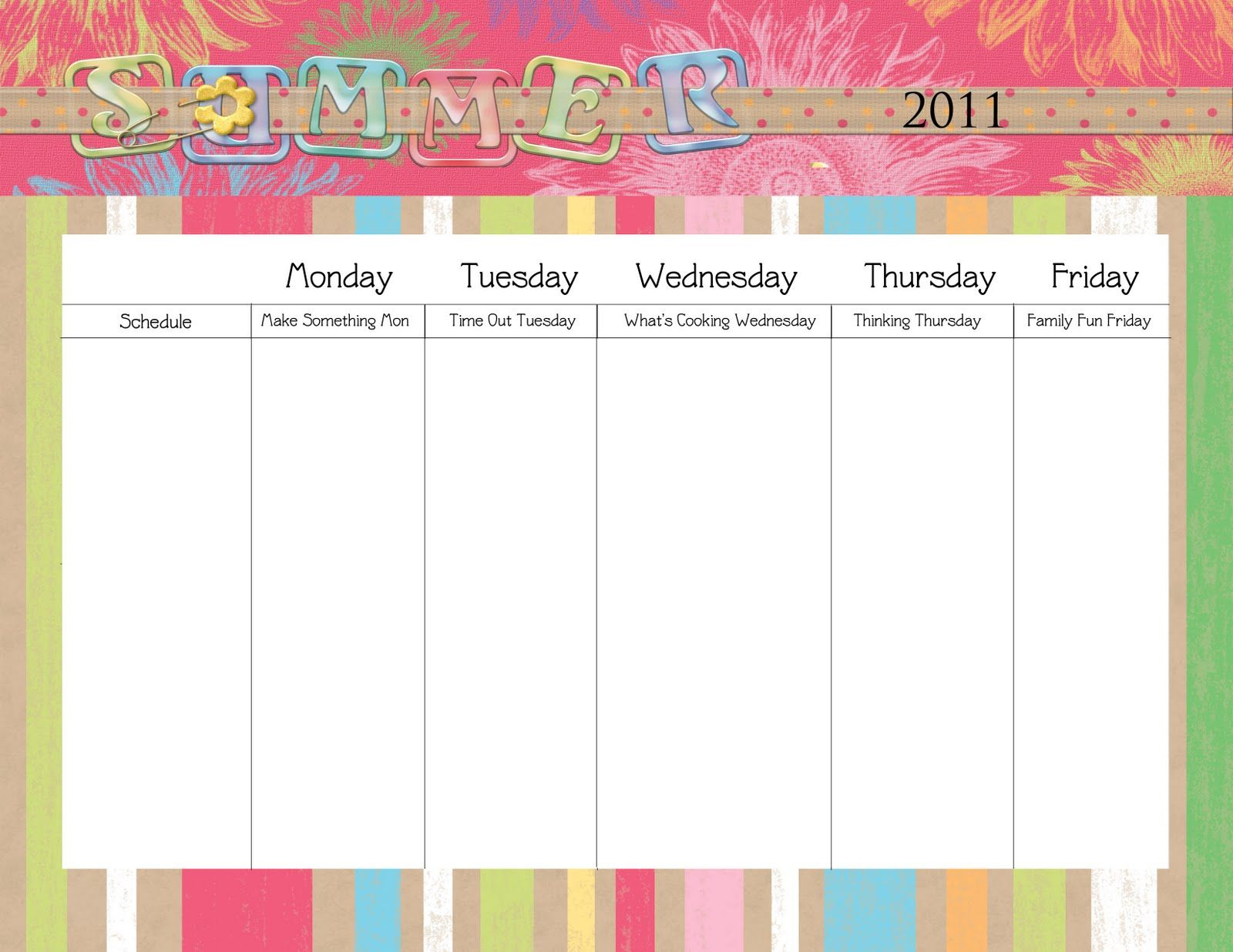 Blank Daily Schedule Template For Kids The Second