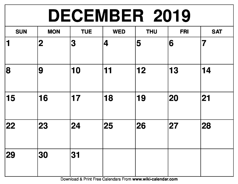 Blank December 2019 Calendar Printable On We Heart It