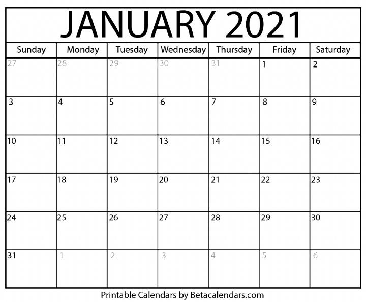 Blank January 2021 Calendar Printable Calendars In 2020
