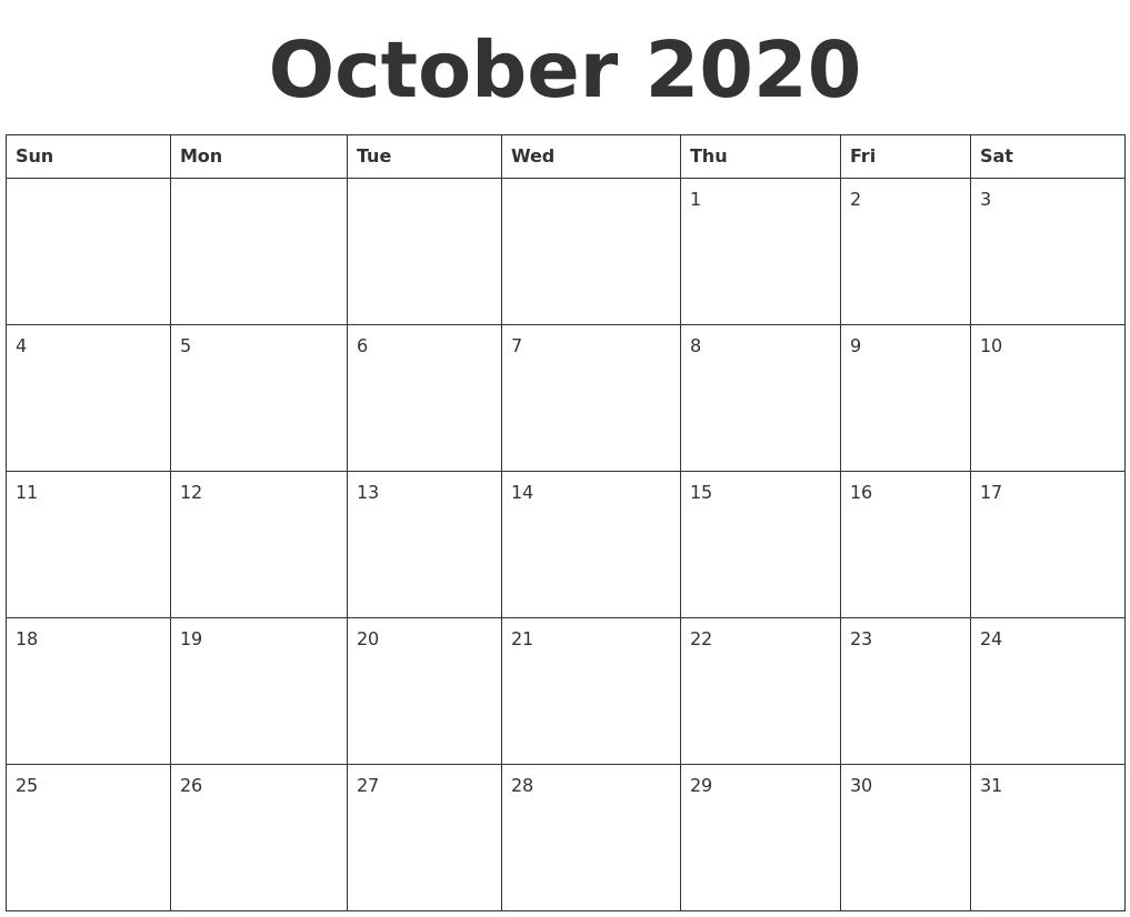 Blank Printable Calendar 2020 Calendar Online 2019