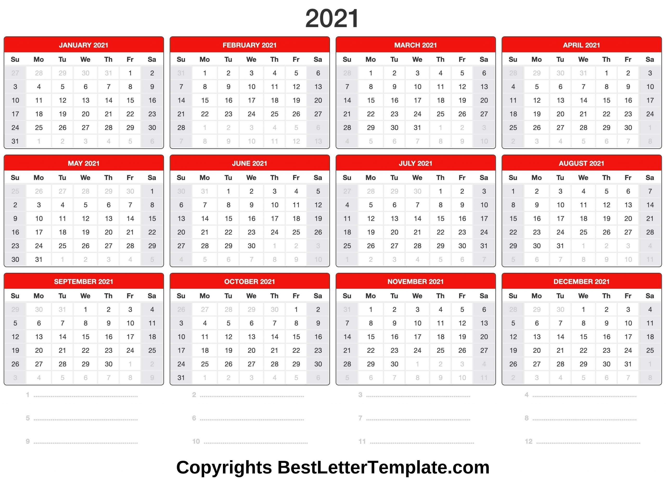 Blank Printable Calendar 2021 Best Letter Template