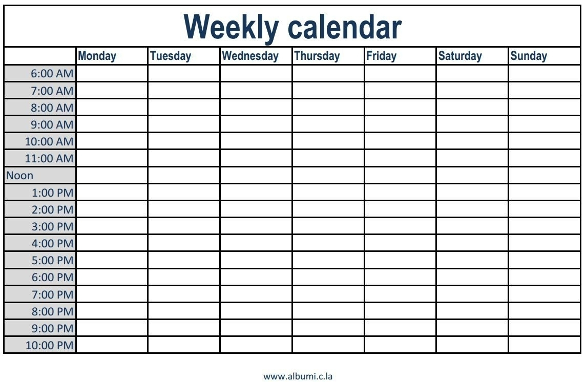 Blank Weekly Schedule With Time Slots Calendar