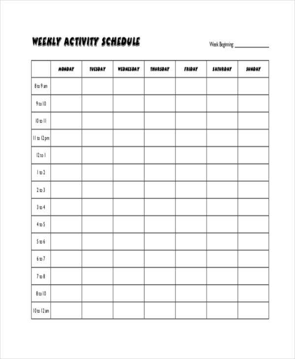 Blank Workout Schedule Template 8 Free Word Pdf Format 2
