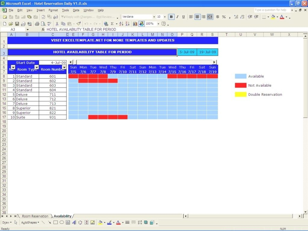Booking Calendar Excel Calendar Image 2020