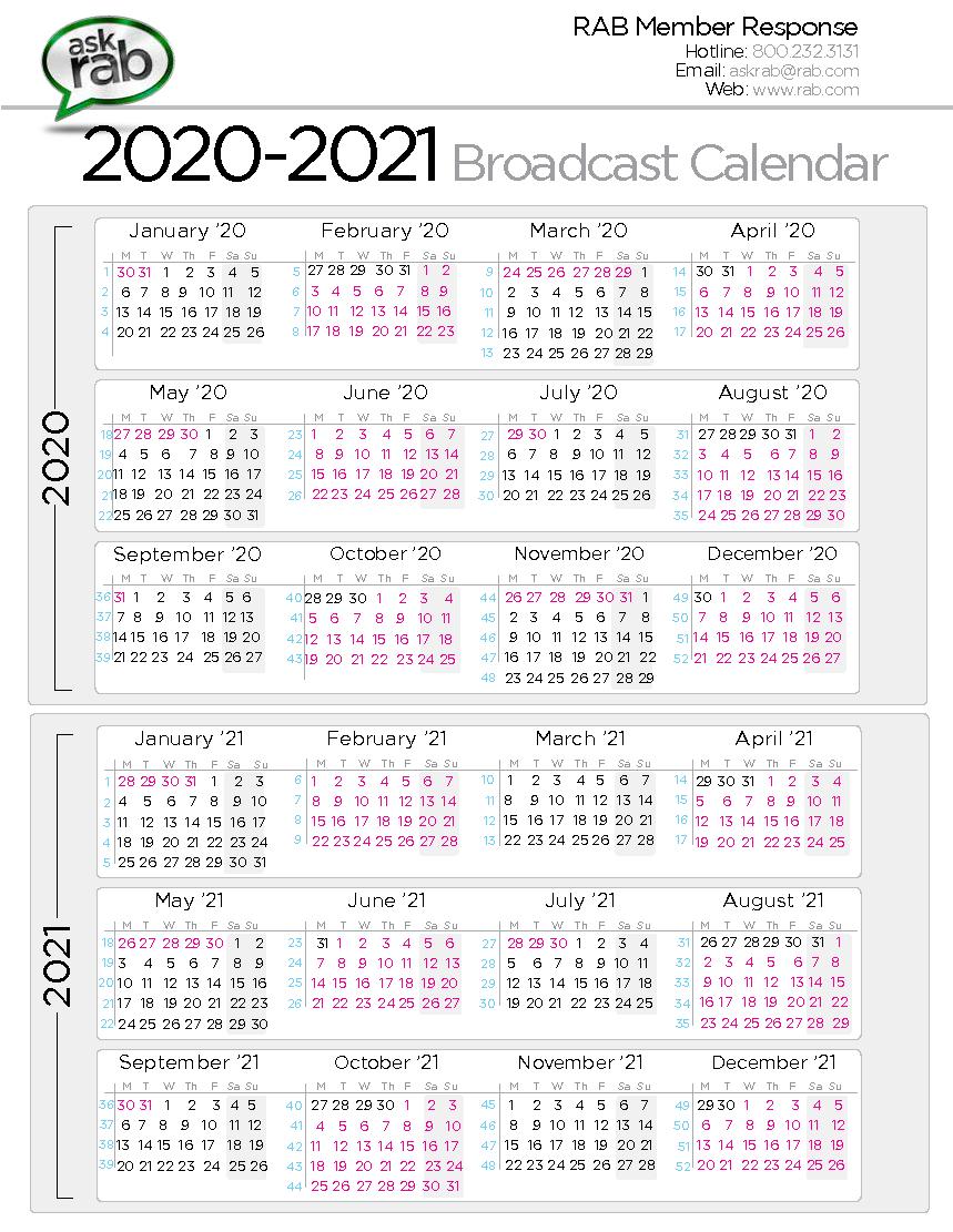Broadcast Calendar 2021 Calendar For Planning 3