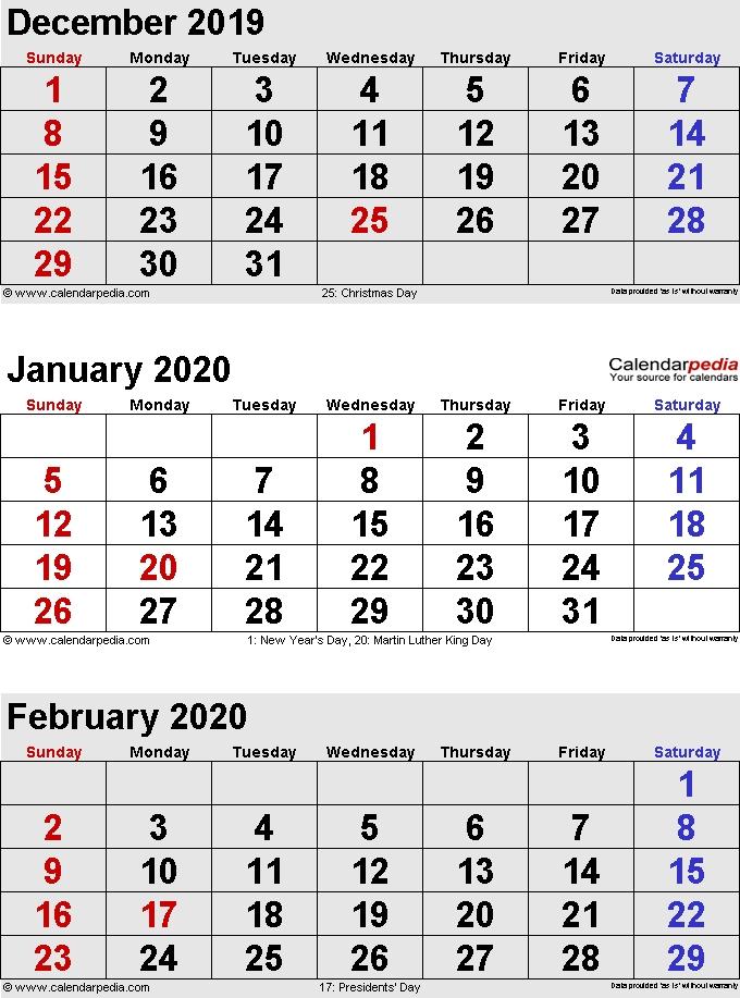 Calander For Dec 2020 And Jan 2020 Free Holiday Calendar