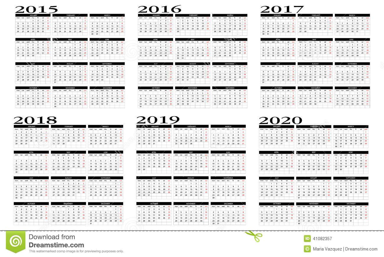 Calendar 2015 To 2020 Stock Vector Illustration Of 2015
