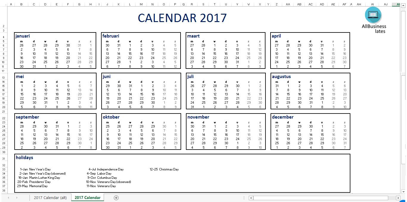 Calendar 2017 A4 Size Excel Format Templates At