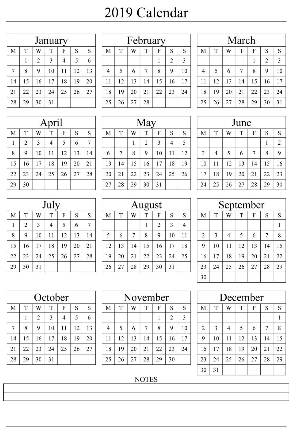Calendar 2019 Pdf Calendars